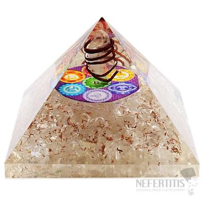 Orgonit pyramida extra velká s křišťálem a symbolem čaker