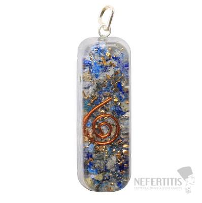 Orgonit přívěsek obdélník dlouhý s lapisem lazuli