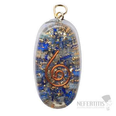 Orgonit přívěsek oválný s lapisem lazuli