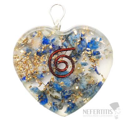 Orgonit přívěsek srdce s lapisem lazuli