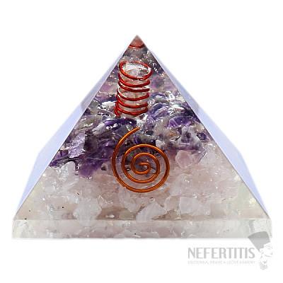 Orgonit pyramida ametyst a růženín s krystalem křišťálu