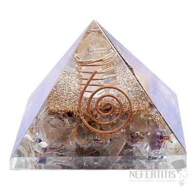 Orgonit pyramida s vícebarevným fluoritem extra