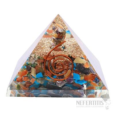 Orgonit pyramida čakrová velká s čakrovým krystalem