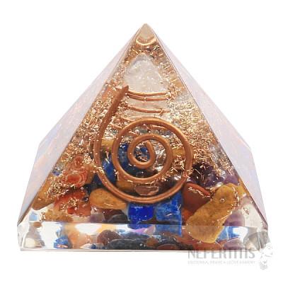 Orgonit pyramida čakrová s krystalem křišťálu