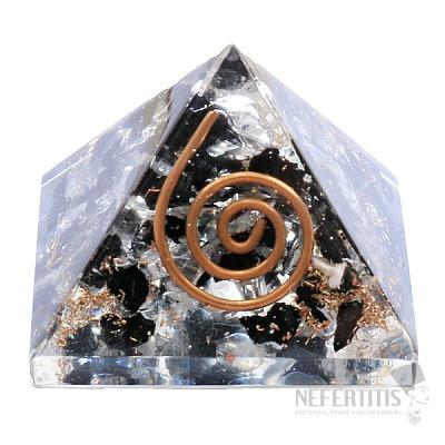 Orgonit pyramida s křišťálem a turmalínem