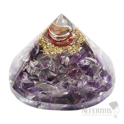 Orgonit pyramida ametyst s krystalem křišťálu extra
