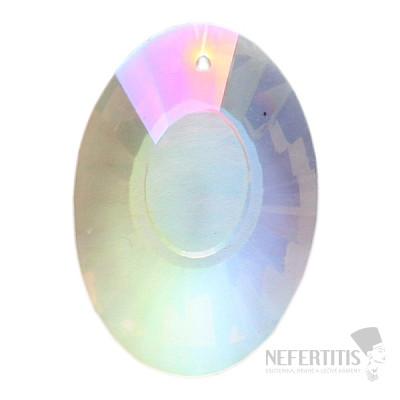 Ovál Feng Shui broušený křišťál duhově metalizovaný Bright pearl