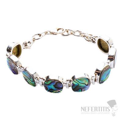 Paua abalon perleť náramek stříbro Ag 925 JW86486