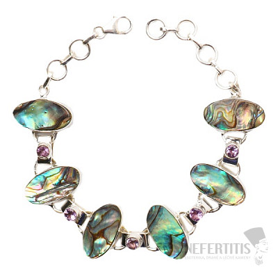Paua abalon perleť náramek stříbro Ag 925 JW86492