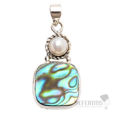 Paua abalon perleť přívěsek stříbro Ag 925 JW14276