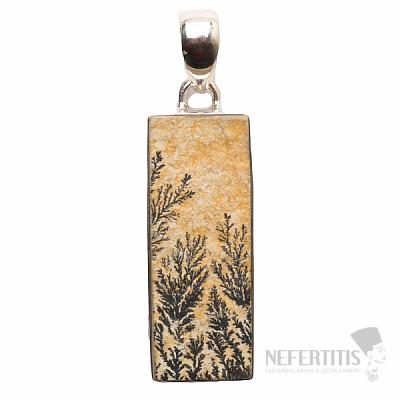 Psilomelan dendritický přívěsek stříbro Ag 925 P370