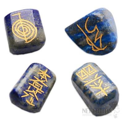 Reiki sada kamenů lapis lazuli se symboly Reiki