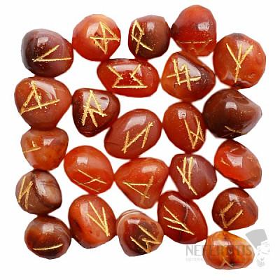 Sada runových kamenů z karneolu