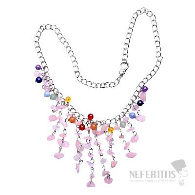 Růženín náhrdelník sekaný s korálky na řetízku