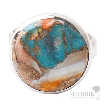 Tyrkys přírodní s lasturou prsten stříbro Ag 925 R16