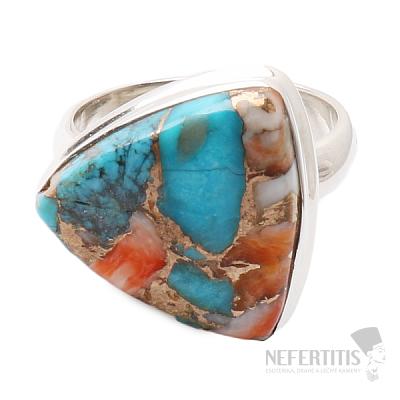 Tyrkys přírodní s lasturou prsten stříbro Ag 925 R45