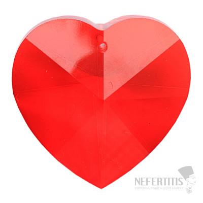 Srdce Feng Shui broušený křišťál červený