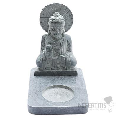 Buddha Ochránce z mastku se stojánkem na čajovou svíčku