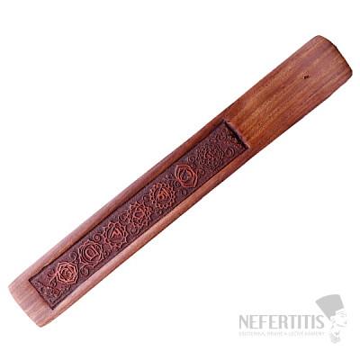 Stojánek na vonné tyčinky dřevo se symboly čaker
