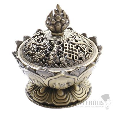 Kovová miska stojánek na vonné tyčinky Lotos barva bronz