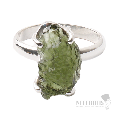 Vltavín prsten stříbro Ag 925 R1067