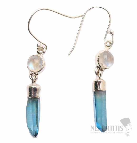 Aqua Aura nádherný krystal vzácného křišťálu náušnice ve stříbře ... 1202f2d4271
