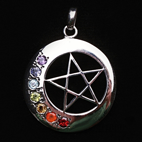 Čakrový přívěsek pentagram v kruhu stříbro Ag 925  2f1c93c17e9