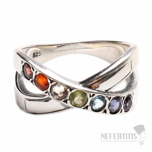 3f859a65c Půvabný prsten pro harmonizaci čaker stříbro se sedmi polodrahokamy ...