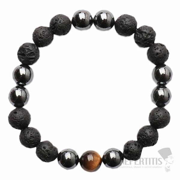 29d6ff3e0 Pánský náramek z lávového kamene, hematitu a tygřího oka | NEFERTITIS.cz