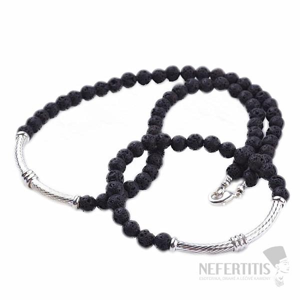 7ef908eae0 Elegantní náhrdelník a náramek v kombinaci lávového kamene a kovu ...