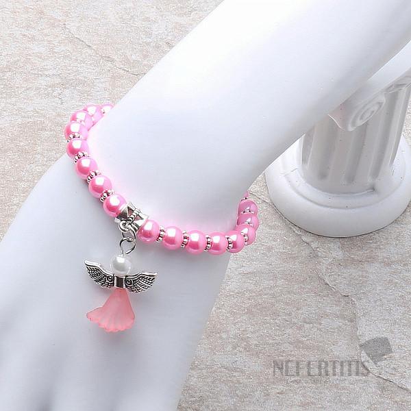 9c444f4d29e Dětský náramek z růžových skleněných perliček s andělíčkem