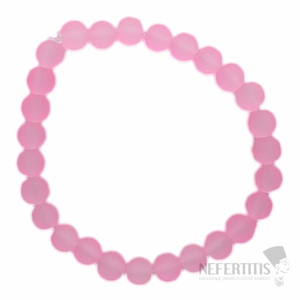 5d29070b774 Módní náramek ze satinovaných růžových korálků z akrylátu ...