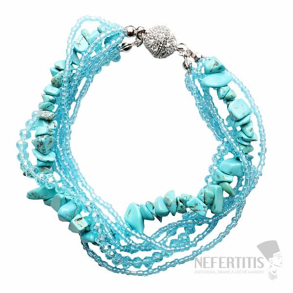 7a6b4a092 Oslnivý fashion náramek s třpytivým leskem korálků a modrého ...