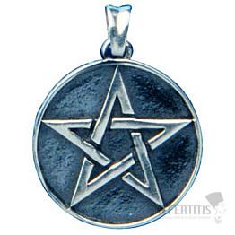 Pentagram kruh plný stříbro Ag 925