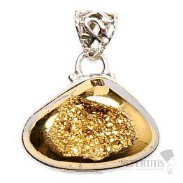 Achát drúzička zlatavá přívěsek stříbro Ag 925 P182