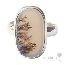 Achát dendritický prsten stříbro Ag 925 R746