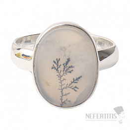 Achát dendritický prsten stříbro Ag 925 R770