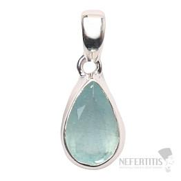 Akvamarín broušený krystal  přívěsek stříbro Ag 925 P658