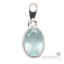 Akvamarín broušený krystal  přívěsek stříbro Ag 925 P666