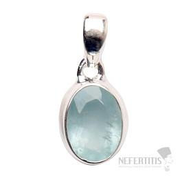 Akvamarín broušený krystal  přívěsek stříbro Ag 925 P679
