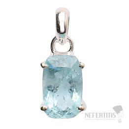 Akvamarín broušený krystal  přívěsek stříbro Ag 925 P729