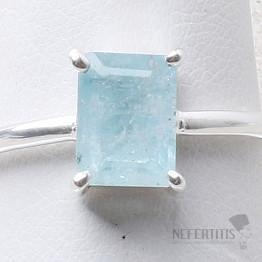 Akvamarín broušený prsten stříbro Ag 925 R1001