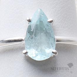 Akvamarín broušený prsten stříbro Ag 925 R1022
