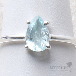Akvamarín broušený prsten stříbro Ag 925 R1025