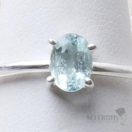 Akvamarín broušený prsten stříbro Ag 925 R1033