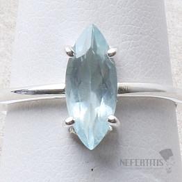Akvamarín broušený prsten stříbro Ag 925 R1034