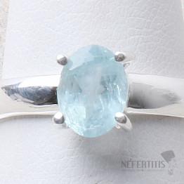 Akvamarín broušený prsten stříbro Ag 925 R1045