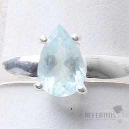 Akvamarín broušený prsten stříbro Ag 925 R1051