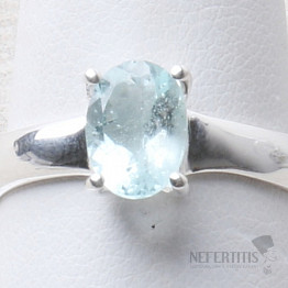 Akvamarín broušený prsten stříbro Ag 925 R1078