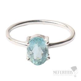 Akvamarín broušený krystal prsten stříbro Ag 925 P882